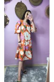 Turuncu/Lila Çiçekli Elbise