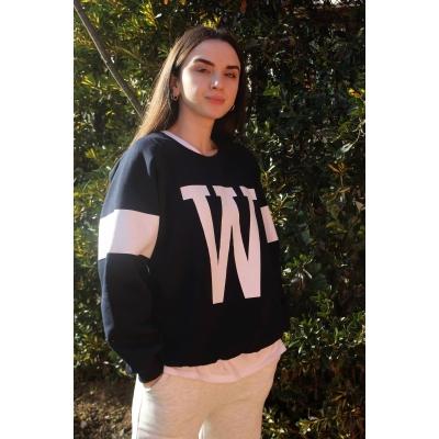 W Baskılı Lacivert Oversize Sweatshirt