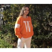 W Baskılı Turuncu-Beyaz Oversize Sweatshirt